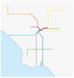 Los angeles metro map california united states vector