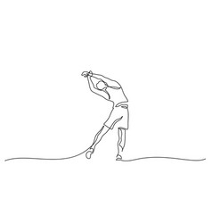 man make stretching exercise one line draw vector image