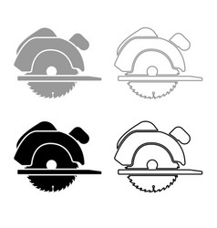 Manual circular saw icon outline set grey black vector