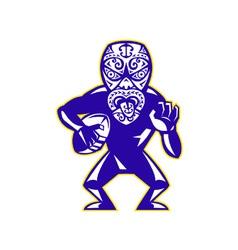 Maori mask rugplayer running with ball fending vector