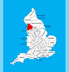 Map lancashire in north west england uk vector