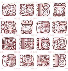 Maya glyphs mayan writing seamless pattern vector