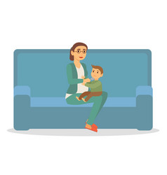 Mother feed son at home businesswoman parenthood vector
