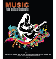 Music background with guitar player vector