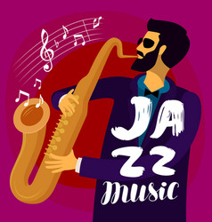 Musician plays the saxophone jazz music musical vector