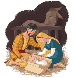 nativity scene with jesus mary and joseph vector image