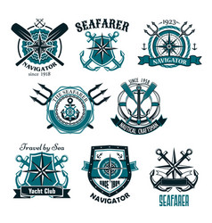nautical heraldic icons of marine seafarer vector image
