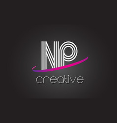 np n p letter logo with lines design and purple vector image