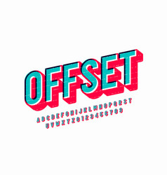Offset print style font design vector