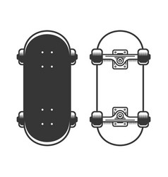 old skateboards set on white background vector image