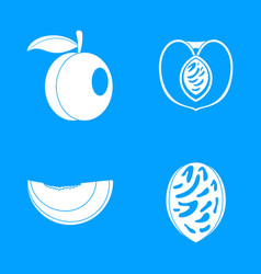 peach tree slices fruit icons set simple style vector image