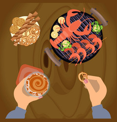 Person eating grilled sea food vector