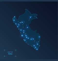 peru map with cities luminous dots - neon lights vector image