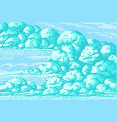 pixel art clouds 8 bit objects turquoise magic vector image