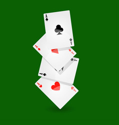 Playing cards set of four on green background vector