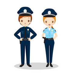 Policeman and policewoman vector