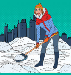 Pop art pretty woman clearing snow with shovel vector