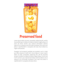 Preserved food peaches poster vector