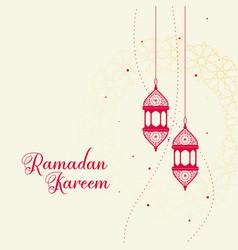 Red decorative islamic lantern on white background vector