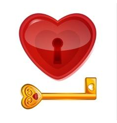 Red lock in shape heart vector