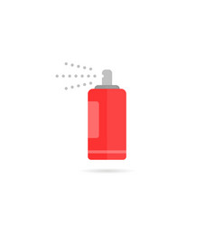 red spray bottle icon with aerosol vector image