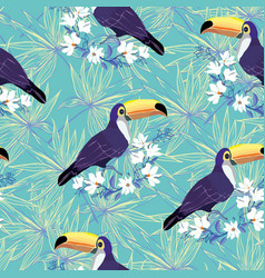 seamless tropical pattern with toucan summer vector image