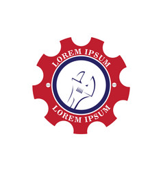 service logo with wrench and red gear vector image