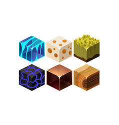 set of 6 cartoon isometric blocks for vector image