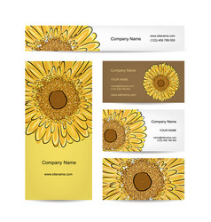 Set of creative business cards sunflower design vector