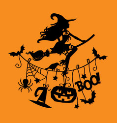 Sexy witch flying over halloween clothing line vector
