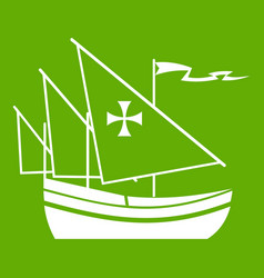 ship of columbus icon green vector image