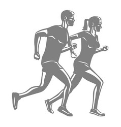 silhouettes of running man and woman on white vector image