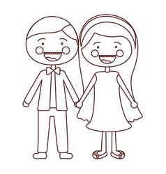 Sketch contour smile expression cartoon couple in vector