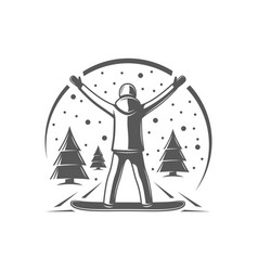 snowboarder isolated on white background vector image