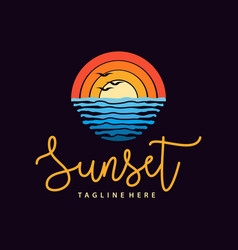 summer sunset beach sea logo and icon design vector image
