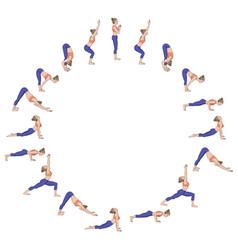 Sun salutation surya namaskara b yoga sequence vector