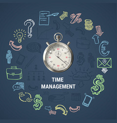 time management round composition vector image