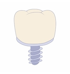 Tooth implant icon cartoon style vector image