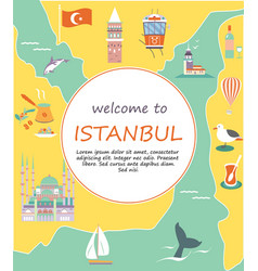 Tourist leaflet with destinations istanbul vector