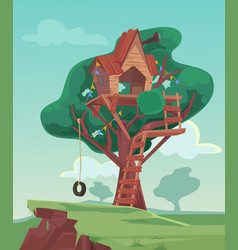 Tree house flat cartoon vector