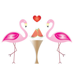two flamingos in love eating watermelon fruits vector image