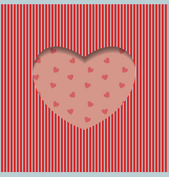 valentines day card geometric red heart pattern vector image