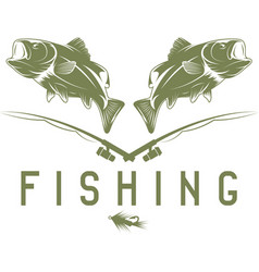 Vintage fishing design template with bass vector
