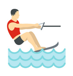 water skiing icon flat style vector image