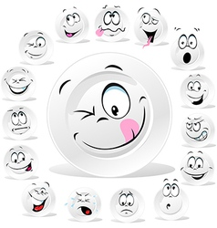 white plate cartoon with many expressions vector image