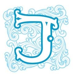 Winter vintage letter J vector