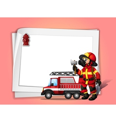 A fireman holding an ax beside his fire truck with vector image vector image
