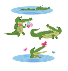 Cartoon crocodiles on nature isolated vector