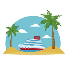 cartoon cruise ship tropical beach palm tree vector image