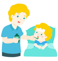 father giving son medicine vector image vector image